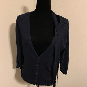 Navy V-neck New York & Co Cardigan with tie XL